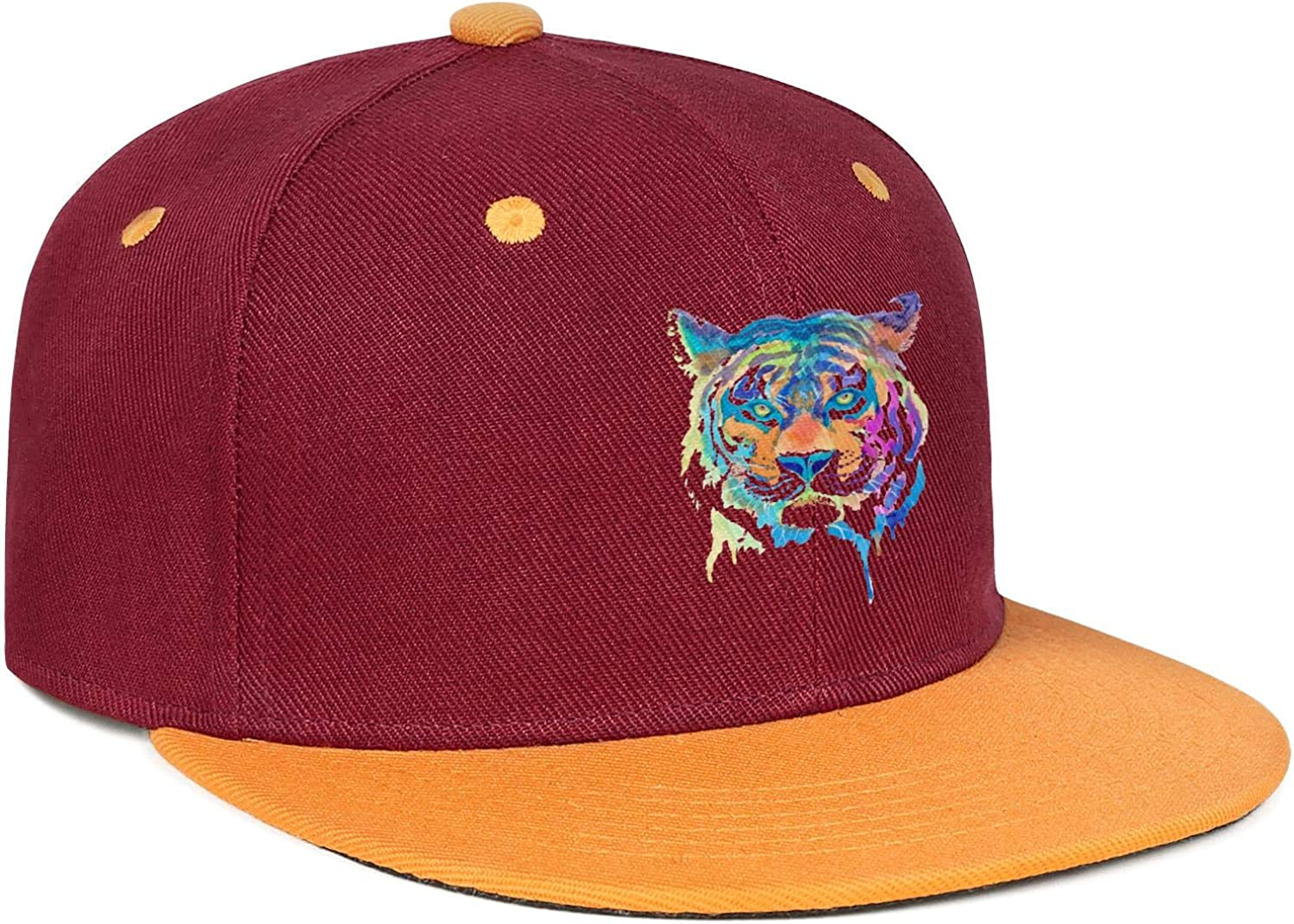 Colorful Tiger Art Gifts Rainbow Mens Womens Flat Hats Adjustable Snapback Flat Bill Caps