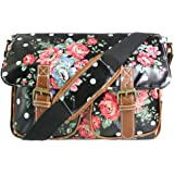 Miss Lulu Oilcloth Or Canvas Floral Polka Dots Flower Cross Body Satchel Shoulder Hand School Bag
