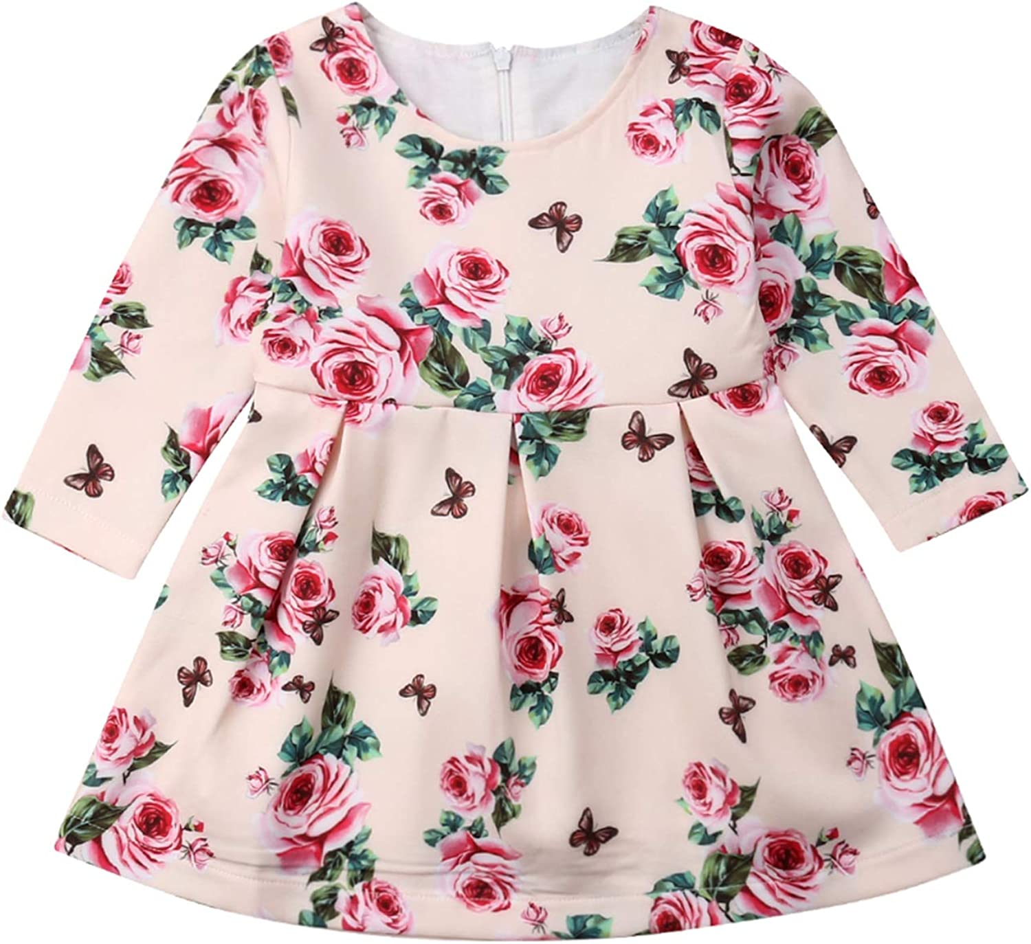 Toddler Baby Girl Long Sleeve Rose Floral Party Dress Little Girl Holiday Casual Dresses