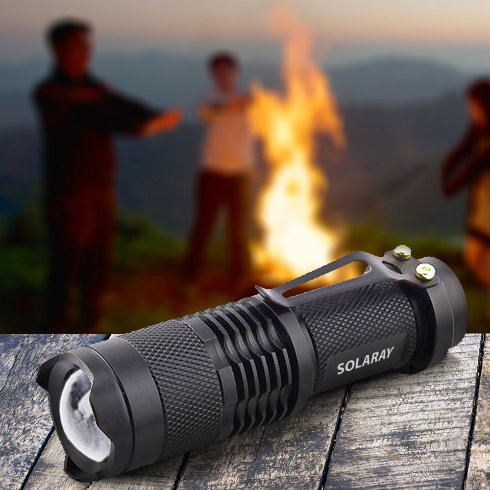 Outdoor Water Resistant Perfect for Camping and Hiking SOLARAY Super Bright Handheld LED Emergency Flashlights Professional Series ZX-2 Mini High Lumen Flashlight 3 Light Modes Adjustable Focus
