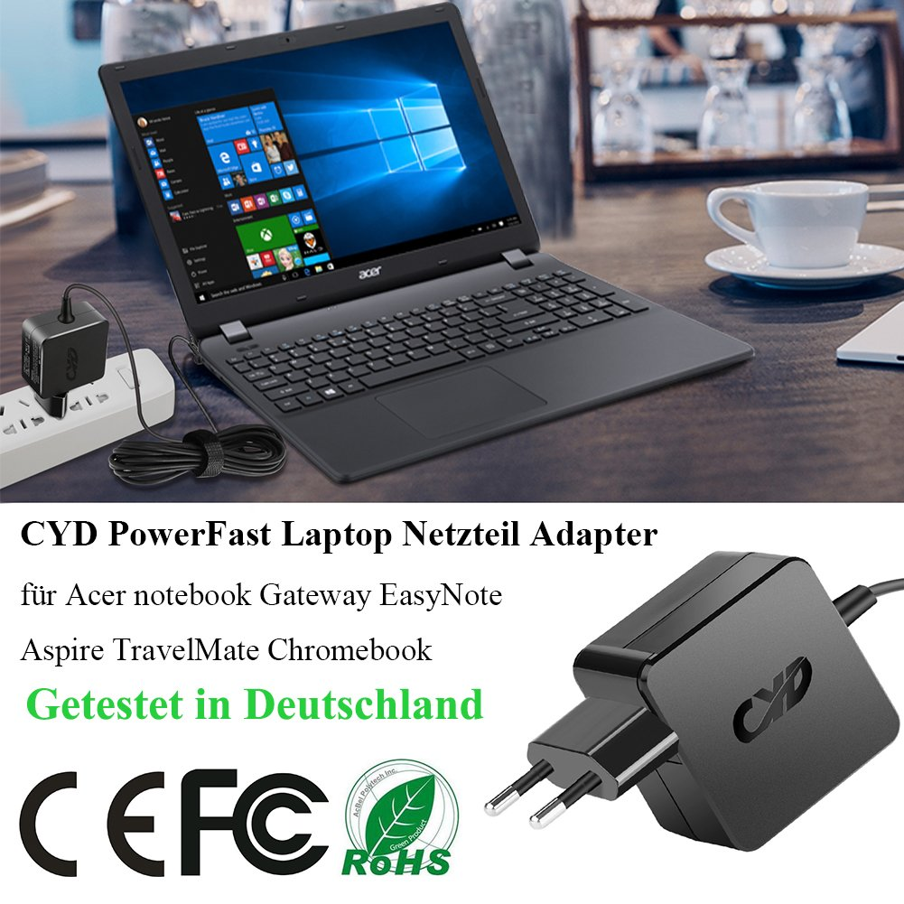 CYD 65W 19V 3.42A PowerFast-Portátile-Cargador para Acer-Aspire-E15 V5 V3 R14 R3 R7 M5 S3 E1 ES1 5742 5735 5750 5532 5349 5250 5733 5534 5336 5552 ...