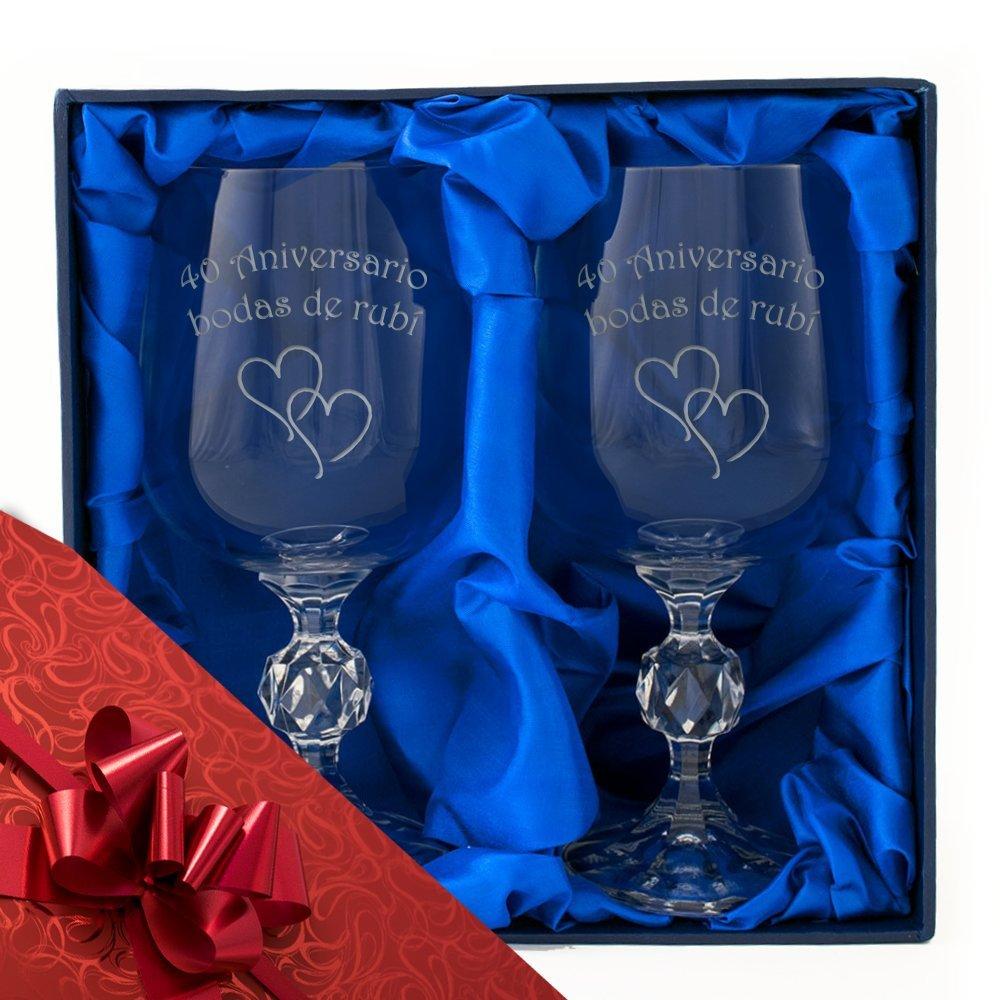 40 Aniversario de bodas de rubi Incluye envoltura de regalo de calidad de 40 /° aniversario y cinta Un par de copas de vino de cristal en caja de presentaci/ón con forro satinado Grabado con Aniversario bodas de rubi y dos elegantes corazones