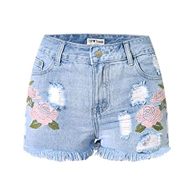 181a276e477 Embroidery Floral High Waist Jeans Short Frayed Women Summer Denim Shorts
