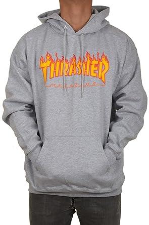 Thrasher Flame Heather Grey Hooded  Amazon.co.uk  Clothing 7ad34233e4d4