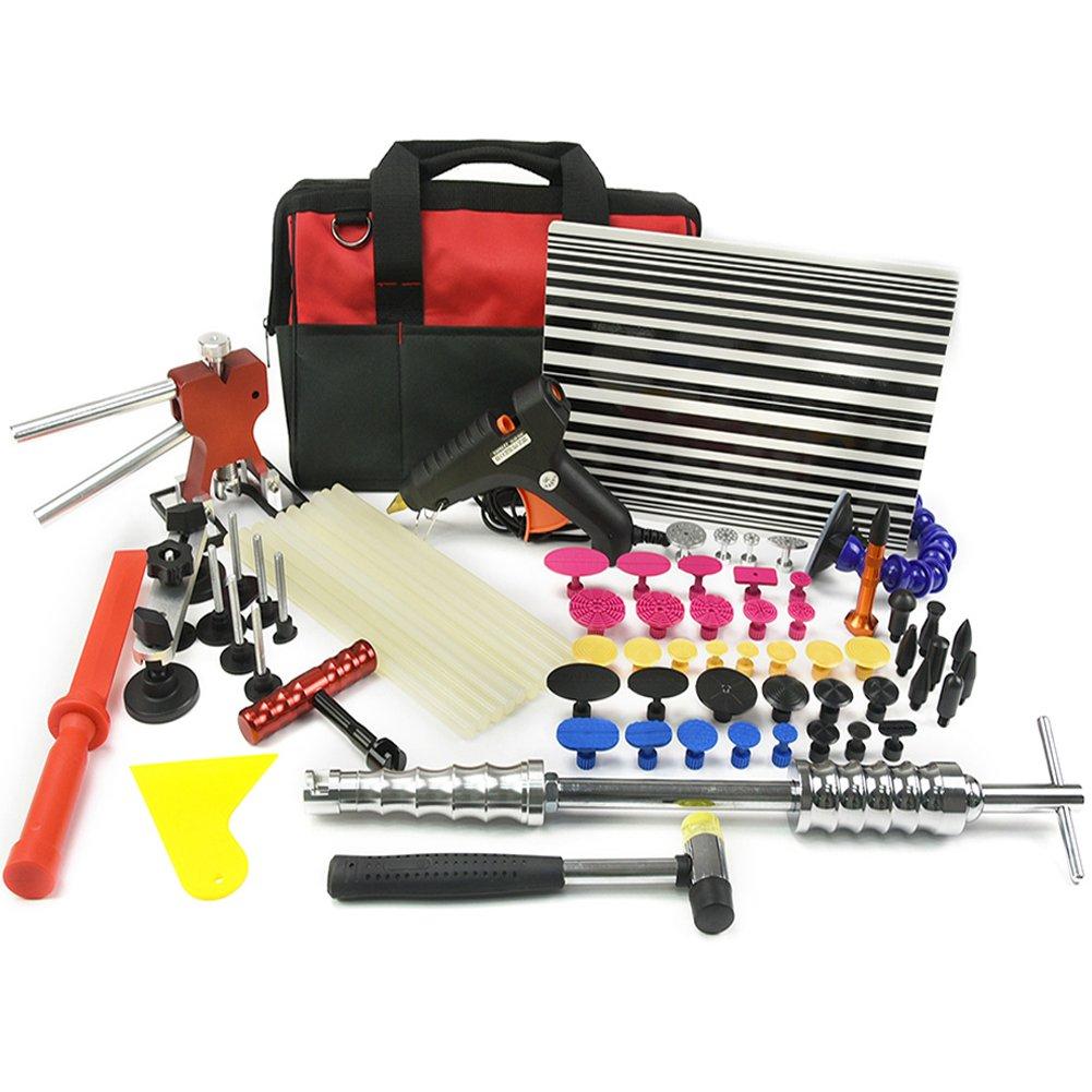 Wcaro 60pcs PDR Tools Paintless Dent Repair Tools Dent Remover Hail Repair Tools Kit Dent Removel Kit PDR Tool Kit Slide Hammer Bridge Puller Glue Dent Puller Tabs Line Board Glue Gun Car Dent Repair