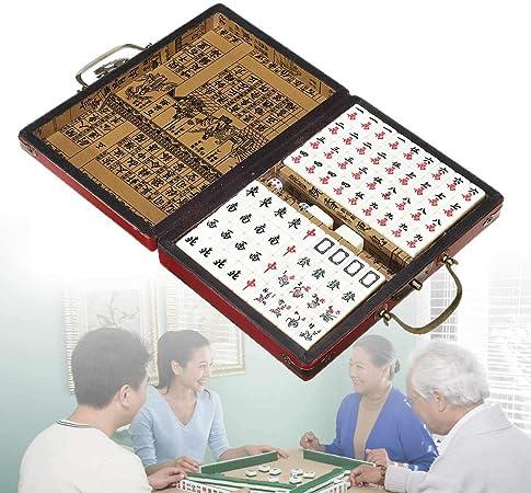 LONGSUODI Juegos De Cartas 144 Azulejos Mah-Jong Set Portátil Vintage Mahjong Rare Chinese Toy con Caja De Bambú Regalos del Partido: Amazon.es: Hogar