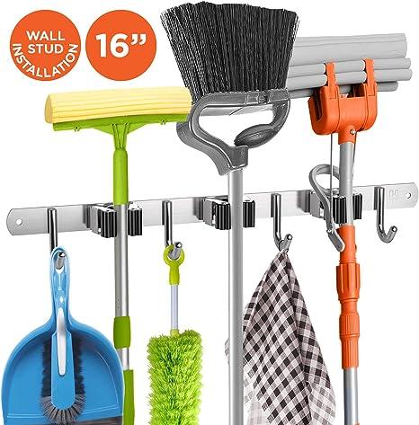 Wall Mounted Mop Rack Brush Broom Holder Hanger Organizer Storage Kitchen Tool z