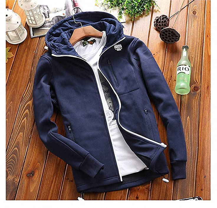 Autumn Jacket Men Casual Windbreaker Thin Mens Hoodies Solid Hooded Collar Outerwear chaqueta hombre at Amazon Mens Clothing store:
