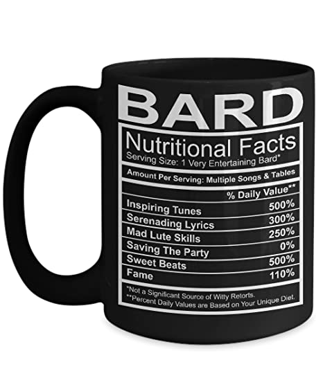 DnD Mug - Bard Nutritional Facts Mug - Black 15oz Ceramic