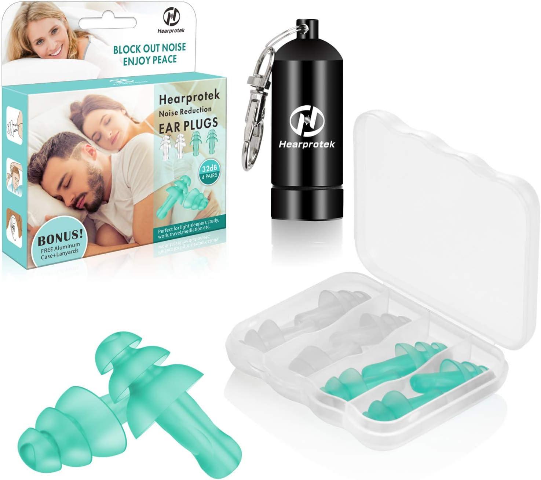 Hearprotek Tapones para los oídos para dormir, 4 pares de tapones para los oídos reutilizables para proteger los oídos de los que duermen de lado, roncar, estudiar, trabajar, viajar, construir, nadar
