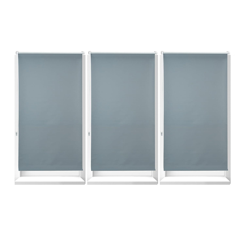 3x Verdunkelungsrollo im Set, mit Hitzeschutz, Thermo Rollo Klemmfix, blickdichtes Seitenzugrollo, 86 x 210 cm, grau
