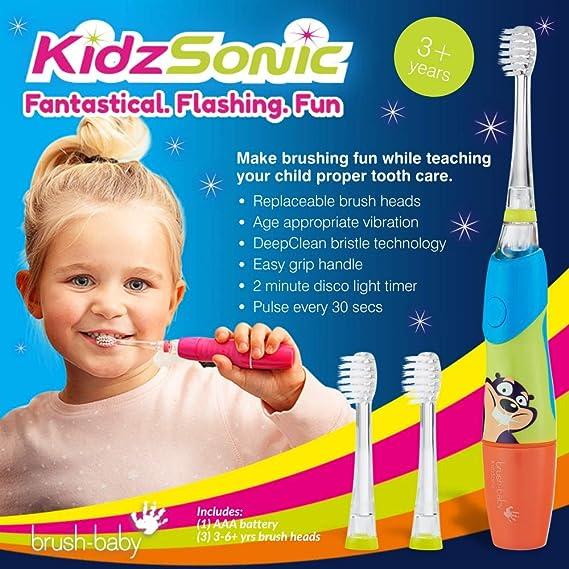 Cepillo de dientes eléctrico KidzSonic de Brush-Baby | Niños | +3 años | ¡Luces, vibración y temporizador de 2 min hacen que cepillarse sea divertido! | Azul, con 3 cabezales de reemplazo