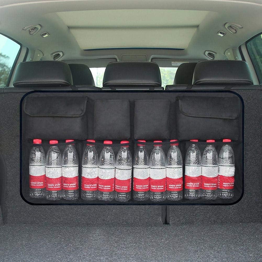 Black//Blue Upgraded Automotive Supplies Car Trunk Car Rear Backseat Storage Bag Car Boot Tidy Organiser Magic Sticker for Space Saving Car Back Seat Organizer with 8 Pockets Backseat Organizer