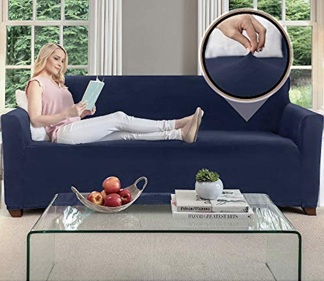 Gorilla Grip Original Fitted Velvet 1 Piece Large Sofa Protector for Seat Width to 70 Inch, Stretchy Furniture Slipcover, Fastener Straps, Spandex Couch Slip Cover Throw for Pets, Sofa, Navy Blue