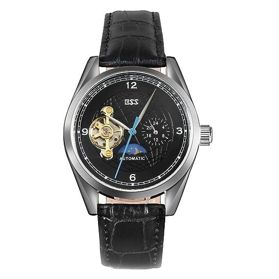 ESS Skeleton Reloj mecánico automático para Hombre, Cuero Negro, Tourbillon Plateado: Amazon.es: Relojes