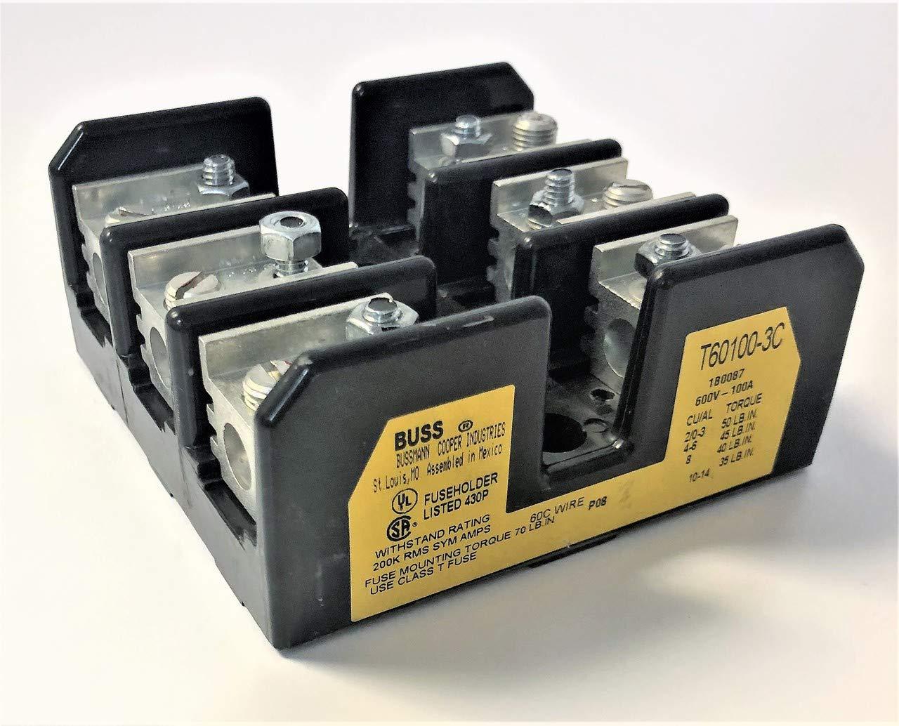 EDISON FUSE T60100-3C 3-Pole, Box Lug, 14-2/0 AWG Copper OR Aluminum, 100A,  600V, Panel Mount, Accepts Class T FUSES: Amazon.com: Industrial &  ScientificAmazon.com