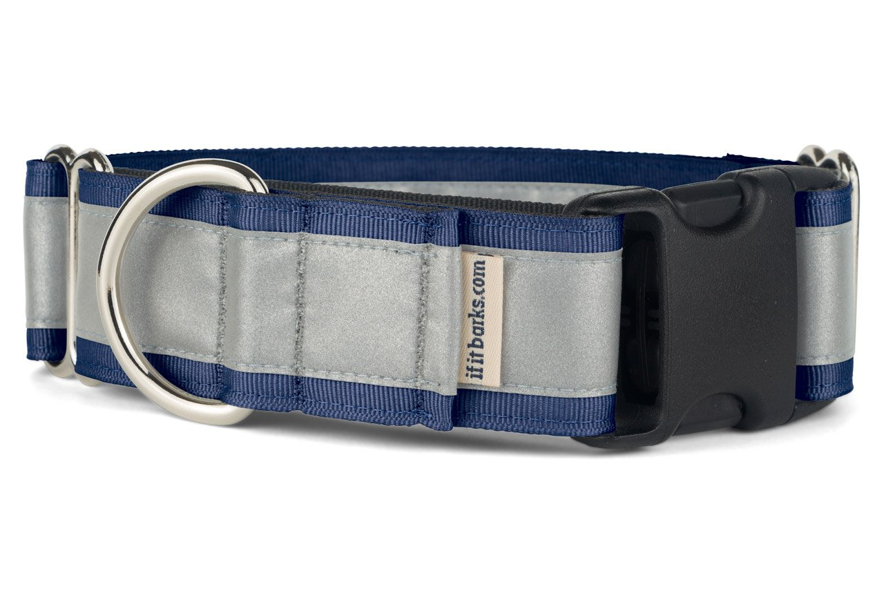 If It Barks - 1.5'' Reflective Martingale Collar with Quick Snap Buckle for Dogs - Adjustable - Made in USA - Strong, Durable, and Comfy - Ideal for Training - Fits Most Breeds - Medium, Navy