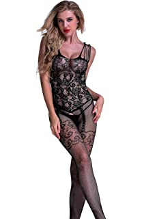 71db75e095 Amstt Women Sexy Fishnet Lingerie Crotchless Bodystockings Babydoll  Bodysuits