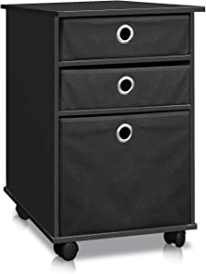 FURINNO Econ Organizer with Bins and Mobility Casters, Black