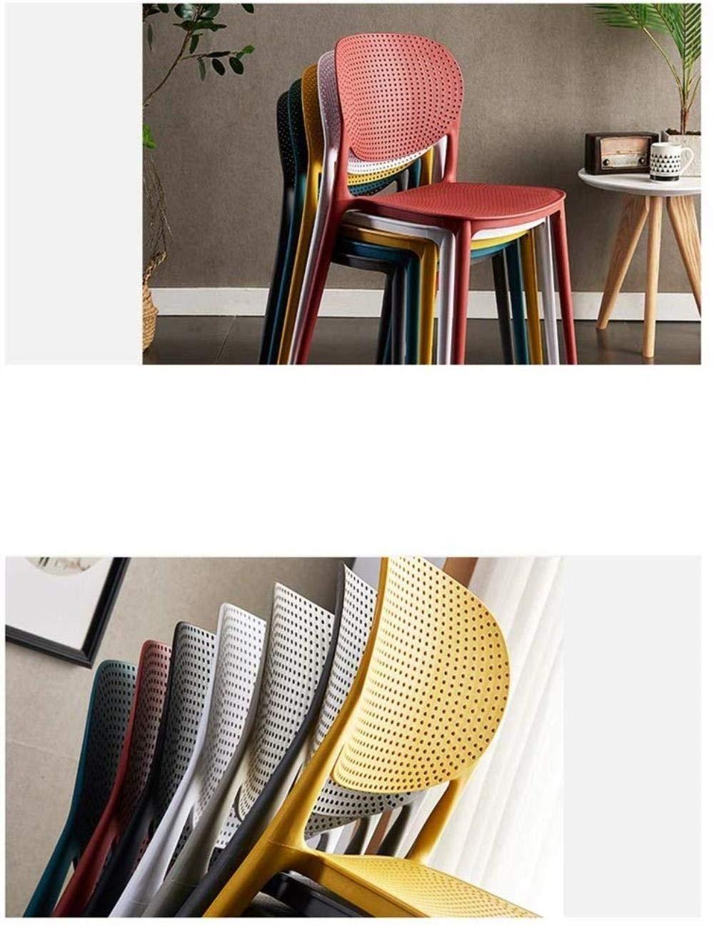 THBEIBEI Modern design matstol datorstolar kontor andningsbar ryggstöd lämplig för sommar plast sits vikt 120 kg för kontorslounge (färg: vit) gUL
