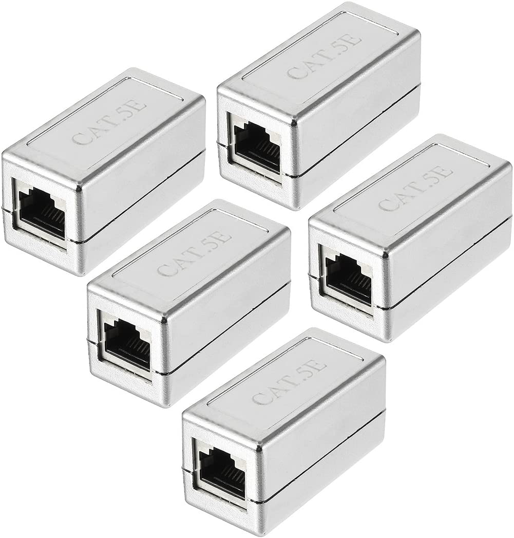 Aexit Cat5E RJ45 Distribution electrical 8P8C Ethernet Network Keystone Jacks In-Line Coupler Female to Female 5 Pack Silver