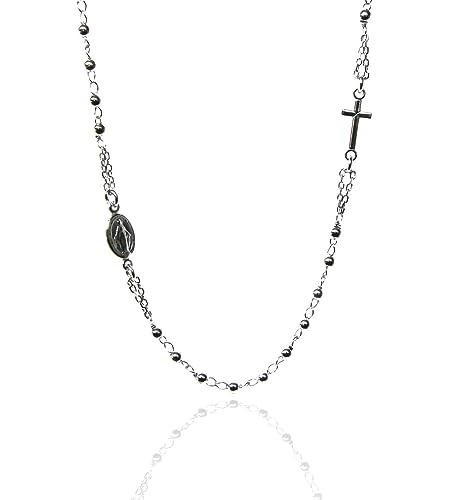 enorme sconto f82a9 d4144 NALBORI Collana rosario uomo o donna in Argento 925 palline ...