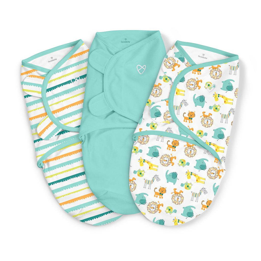 SwaddleMe 3 Pack (SM) Swaddle Set, Grey Chevron Stars Summer Infant 54674