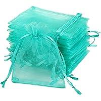 Naler 120 x organzazakjes groen organzazakje organza sieradenzakje cadeauzakjes voor verpakking, 7 x 9 cm