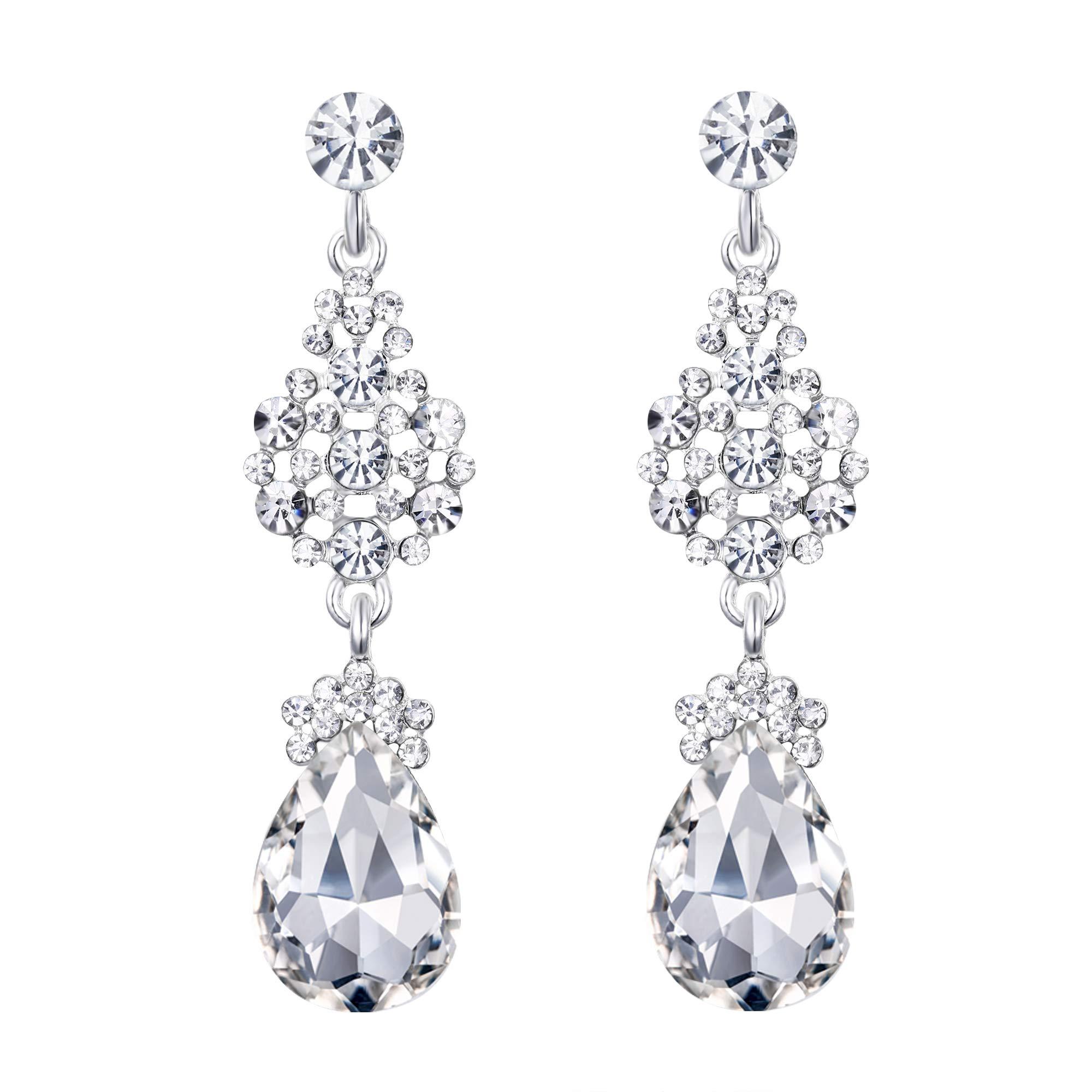 27b518e51 EleQueen Austrian Crystal Elegant Teardrop Dangle Wedding Earrings For Women  Silver-Tone Clear