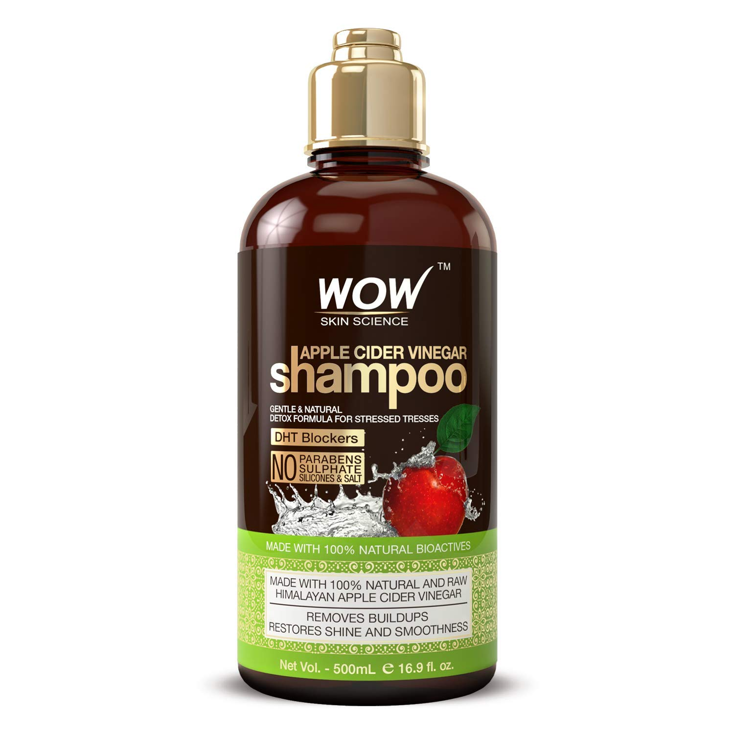 WOW Apple Cider Vinegar Shampoo - Reduce Dandruff, Frizz, Split Ends- DHT Blockers For Hair Loss - Clean Scalp & Boost Gloss, Shine - Paraben, Sulfate Free - All Hair Types, Adults & Children - 500 mL by BUYWOW