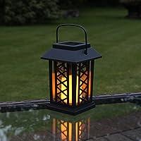 Festive Lights - Farol de jardín (funciona con energía solar, efecto parpadeante, LED ámbar, 17,5 cm).