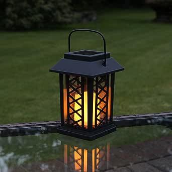 Festive Lights - Farol de jardín (funciona con energía solar, efecto parpadeante, LED ámbar, 17,5 cm).: Amazon.es: Iluminación