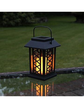 Festive Lights Farol solar para vela con luz parpadeante LED ámbar, 17,5 cm