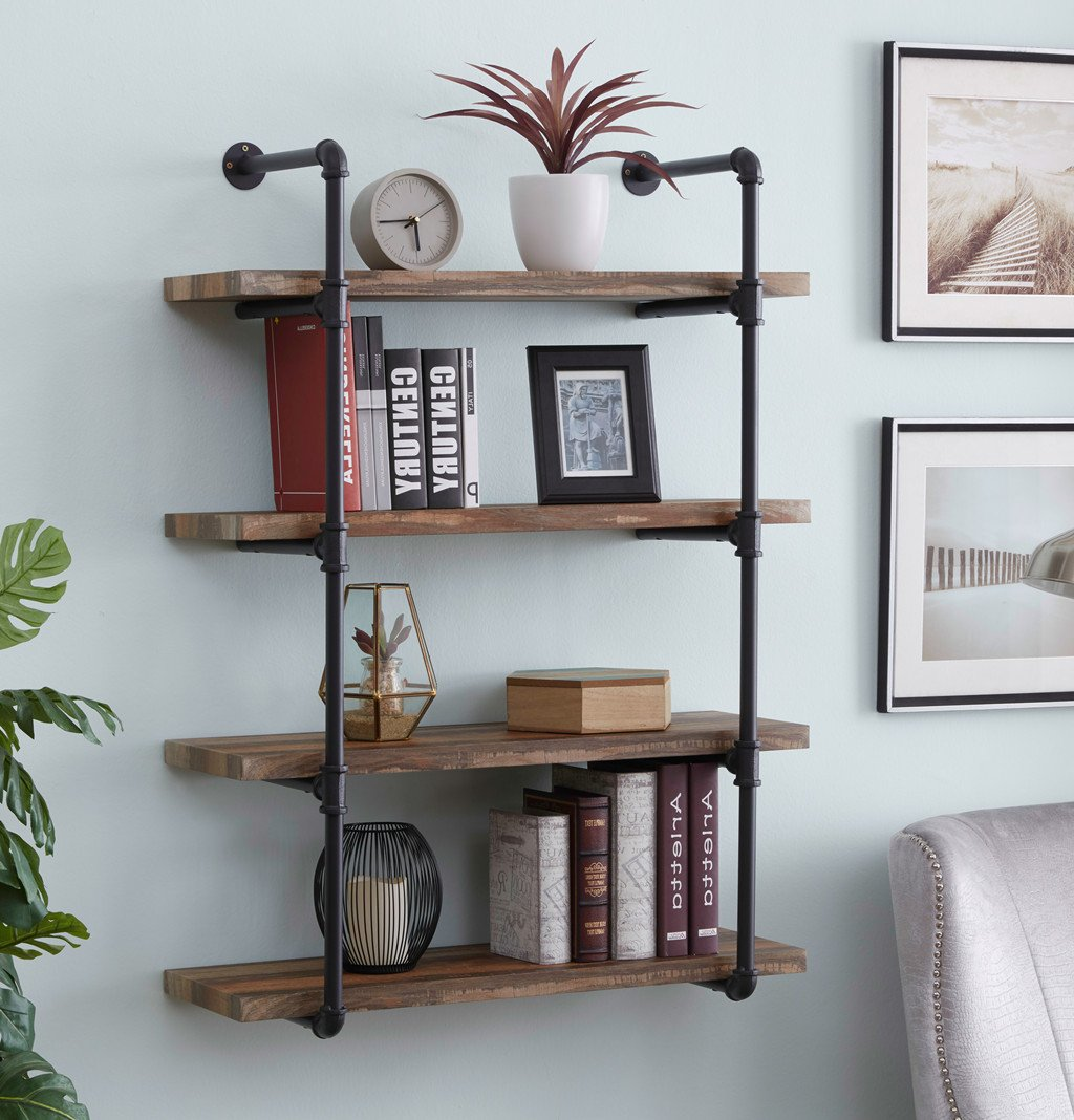 Homissue 4-Shelf Rustic Pipe Shelving Unit, Metal Decorative Accent Wall Book Shelf Home Office Organizer, Retro Brown