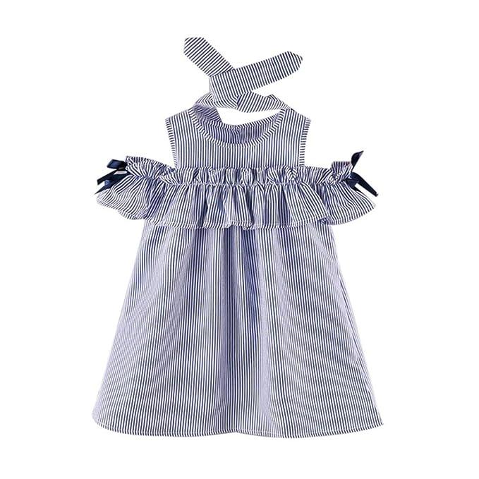 Vestidos niñas baratos Switchali infantil bebe nina verano rayas Vestido con cinturón bowknot princesa Vestido de