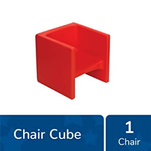 "Children's Factory Cube Chair, 15"" by 15"" by 15"" – Red – Versatile - Use as a Low or High Chair, Table and Adult Seat – Durable and Lightweight – Indoor or Outdoor Use (CF910-008)"