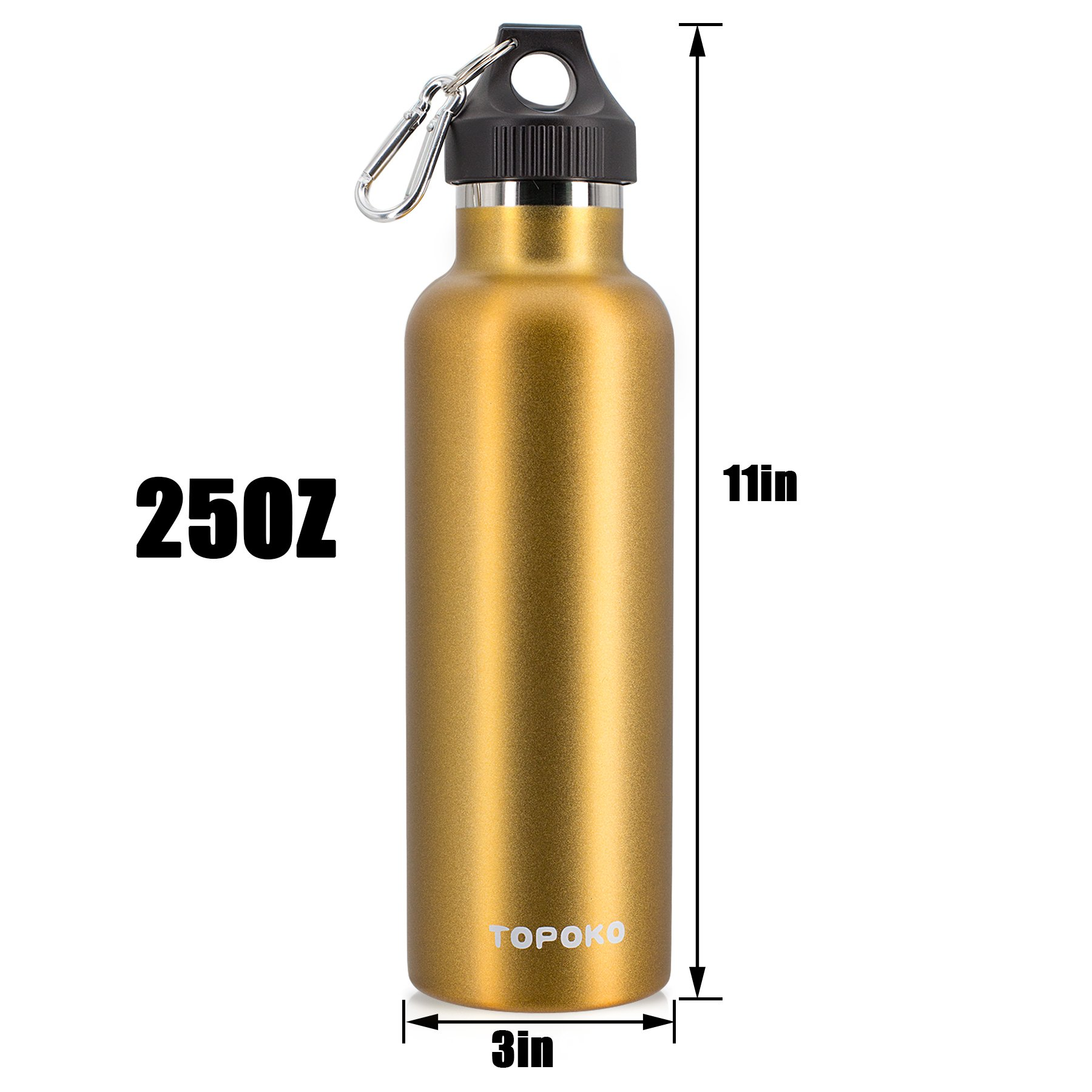 Stainless Steel Vacuum Insulated Water Bottle Double Wall - TOPOKO Top Quality Hydration Thermos - Camping Hiking Travel No Leak Rust Resistant Colored - 25 oz, Gold by TOPOKO (Image #4)