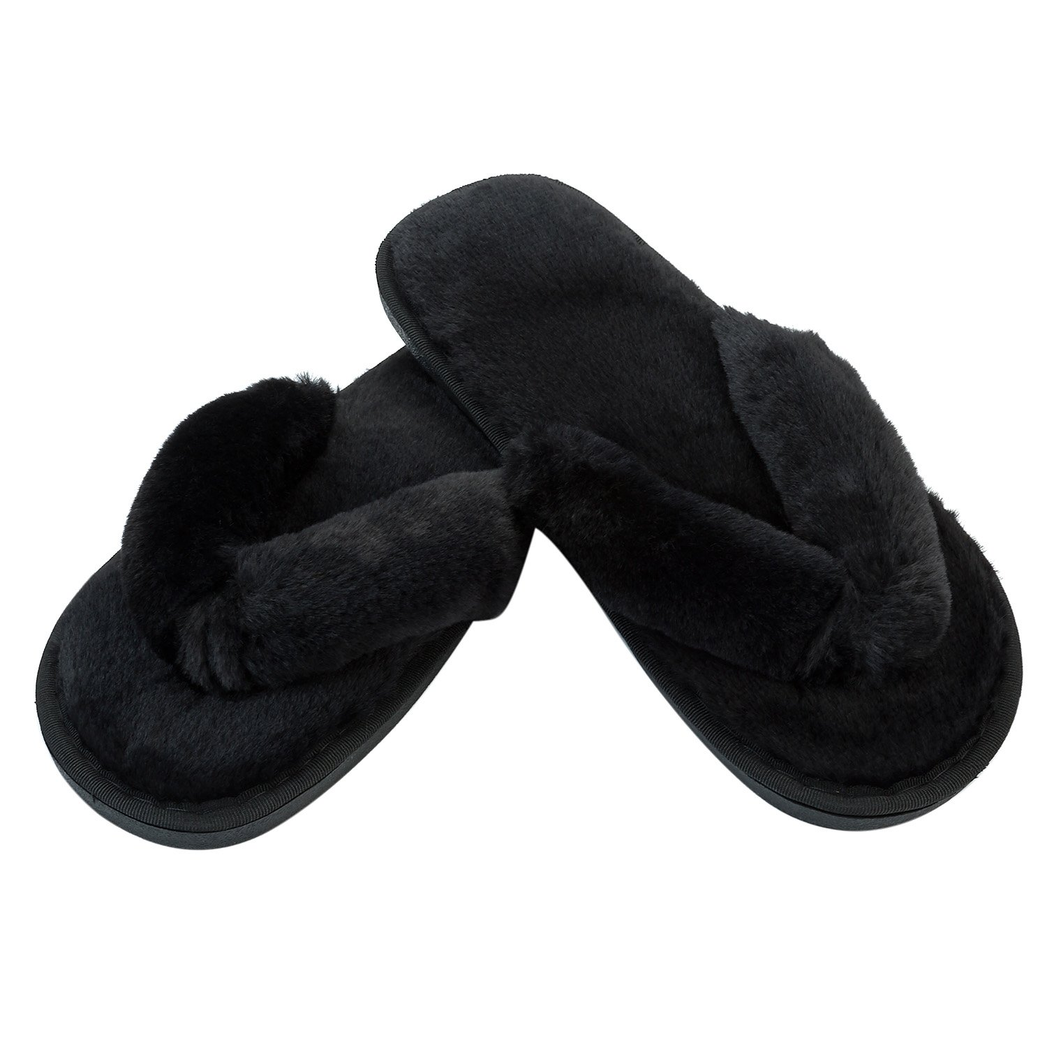 JOINFREE Women's Furry Home Slippers Soft Plush Spa Indoor Flip-Flop Shoes Black 9.5-10.5 M US by JOINFREE