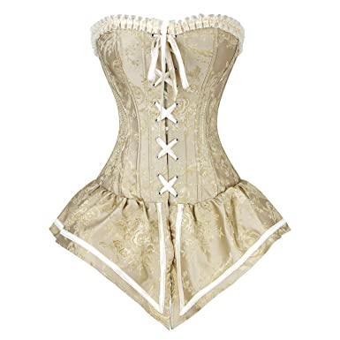 b7d74cc5e5 Killreal Women s Retro Gothic Steampunk Jacquard Brocade Overbust Corset  Bustier Top with Lace Trim Yellow S