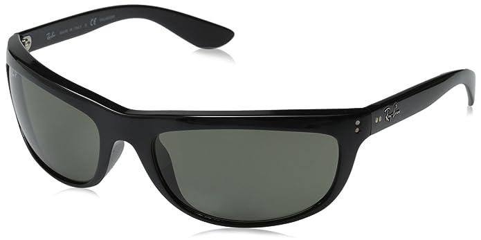 62e644bafe1c Amazon.com: Ray-BanMen's RB4089 Balorama Oval Sunglasses, Black/Polarized  Green, 62 mm: Ray Ban: Clothing