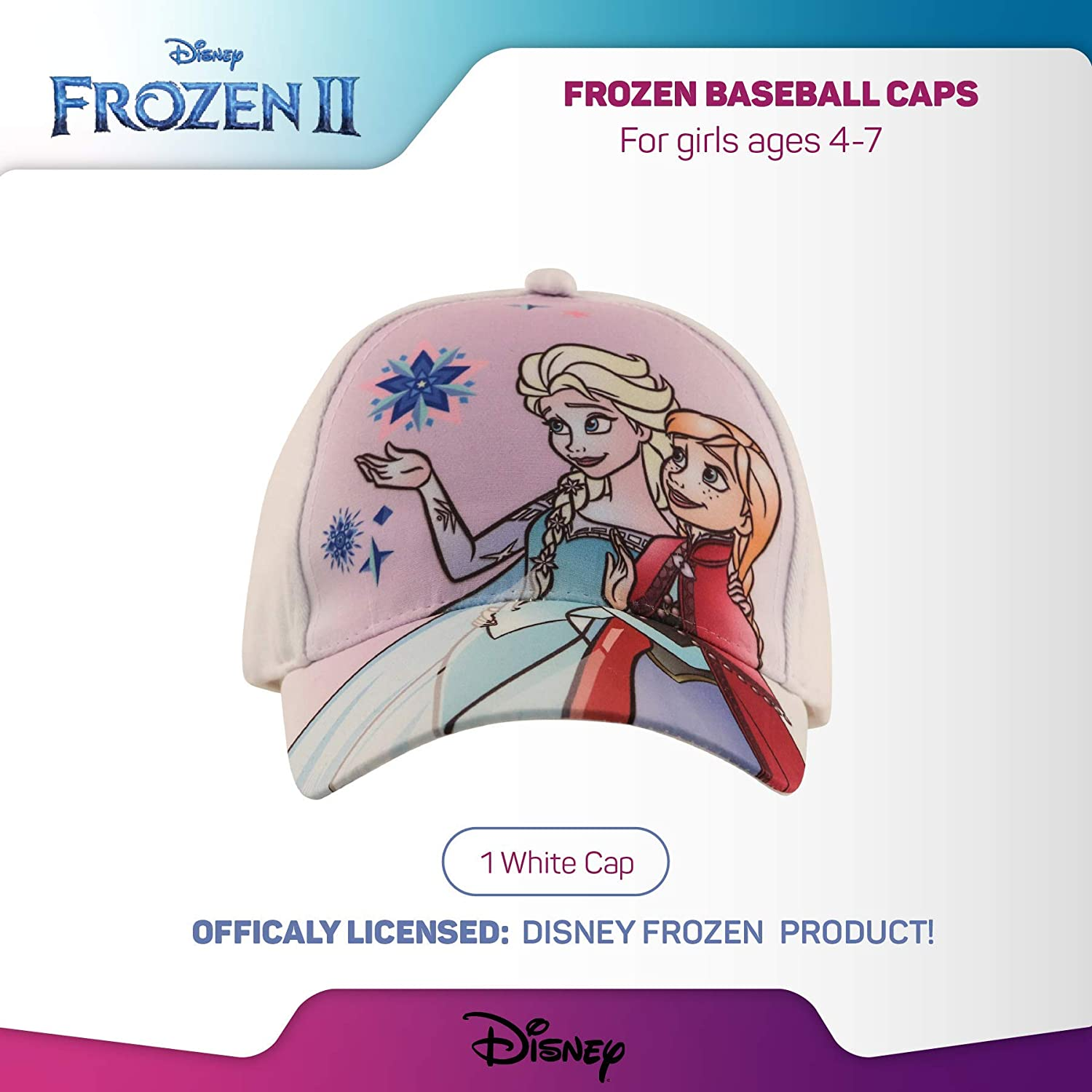 Disney Kids Hat, Elsa and Anna Baseball Cap for Girls Ages, White/Purple, Age 4-7: Clothing