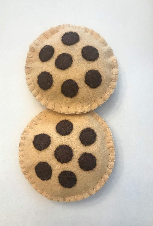 Felt Pretend Play Chocolate Chip Cookies 3 Cookies