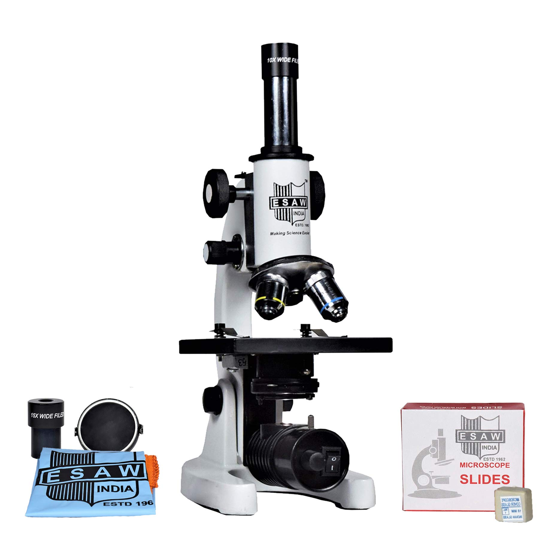ESAW SM-02 Student Compound Microscope (Magnification 100X-675X) with 10X and 15X Wide Field Eyepieces Kit (50 Blank Slides, Cover Slips) product image