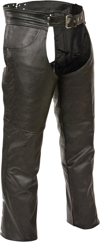 Black, X-Large Event Biker Leather Mens Buffalo Split Leather Plain Lined Chaps