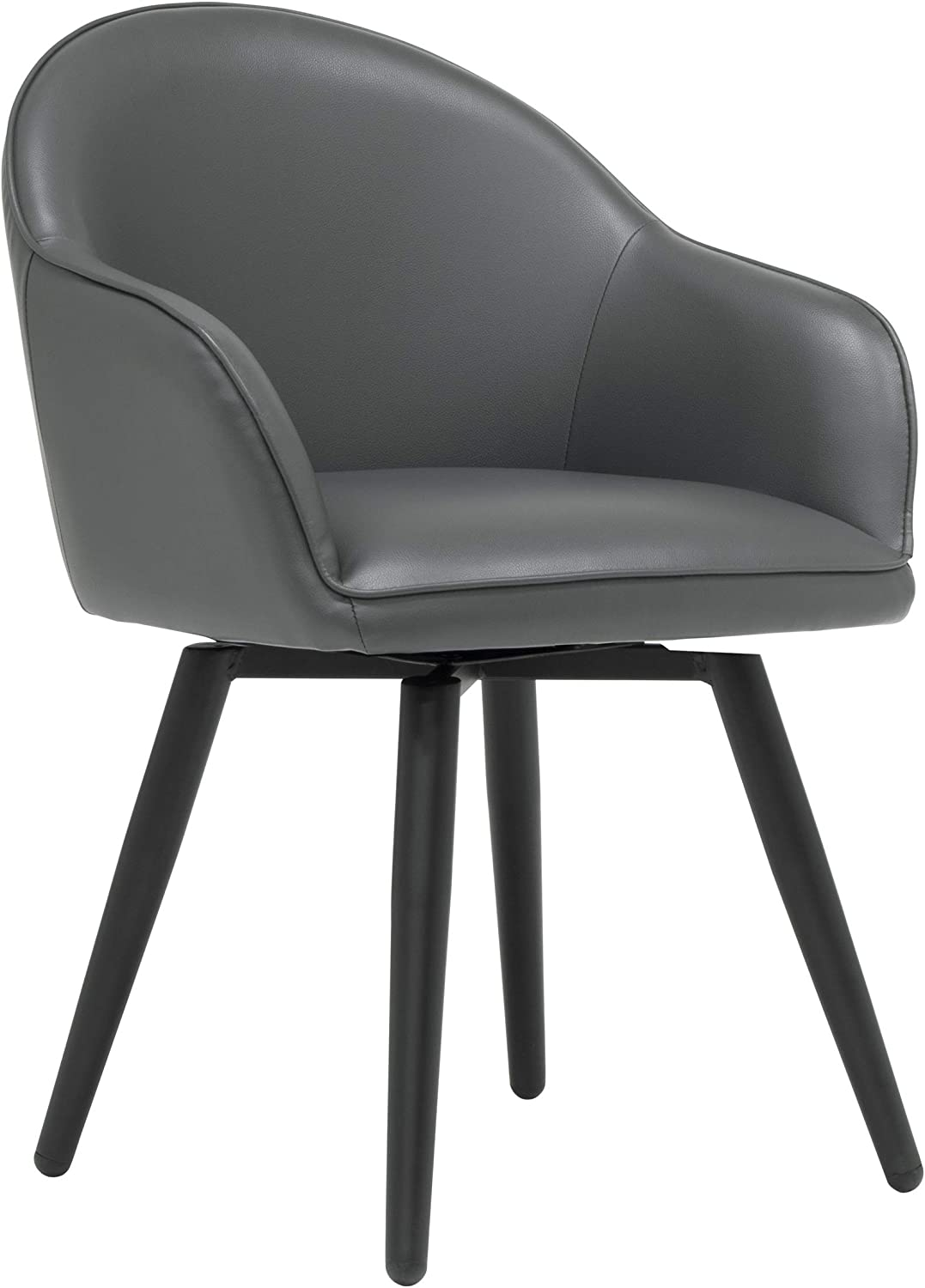Studio Designs Home Dome Swivel Accent Chair with Arms, Office/Dining/Guest, Black/Smoke Grey Blended Leather
