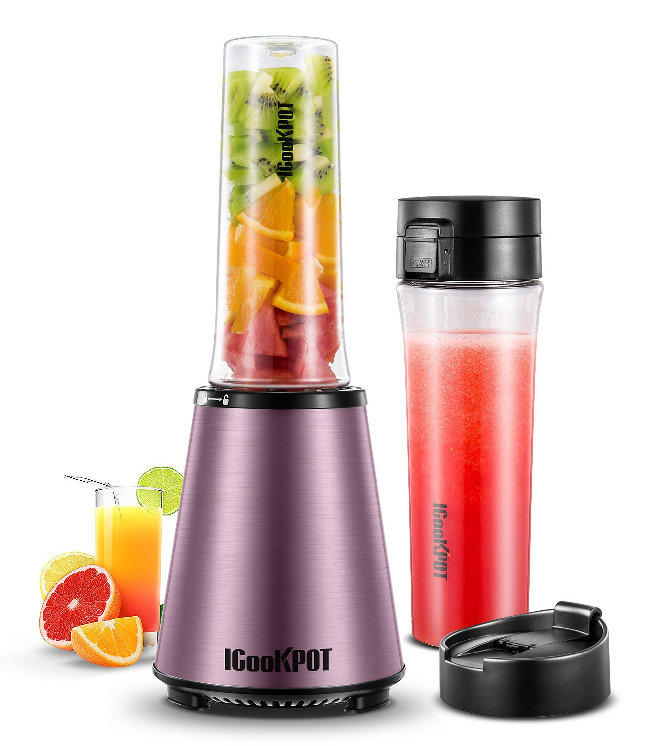 ICOOKPOT Smoothie Blender Personal Blender for Shakes and Smoothies with 2 X 18 oz BPA-Free Portable Sports Bottles and Travel Lid Frozen Fruit Vegetable Juice Maker, 300W Rose Gold by ICOOKPOT