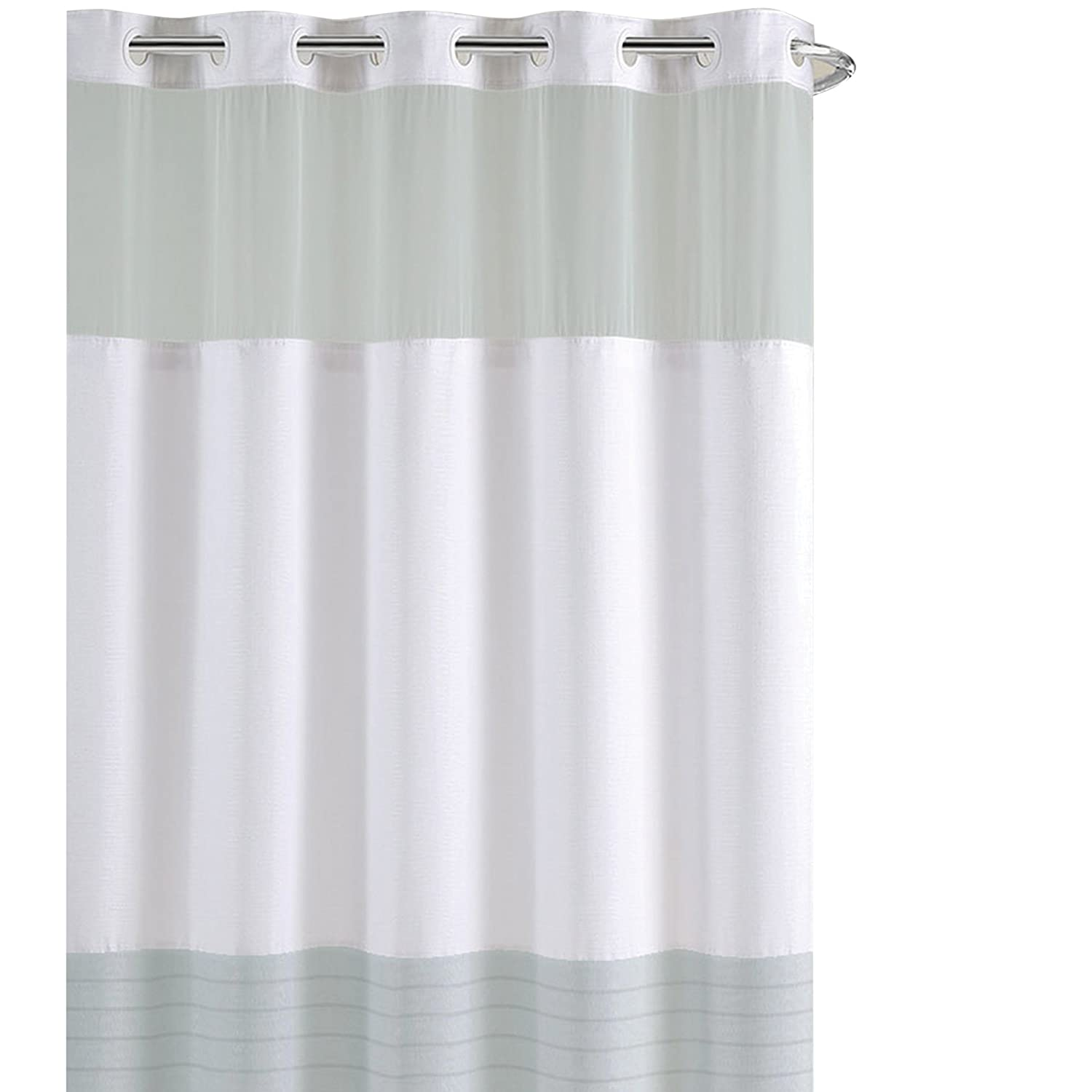 Amazon Hookless Colorblock Pleat Shower Curtain Home Kitchen
