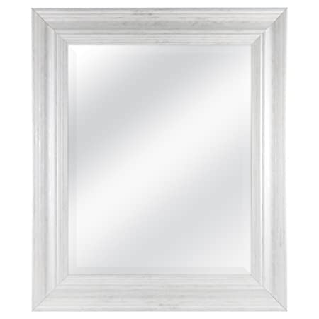 MCS 16 by 20 inch Scoop Mirror, 21.5 by 25.5 inch Outside Dimension, White Wash Finish 20546, 21.5 x 25.5 Inch,