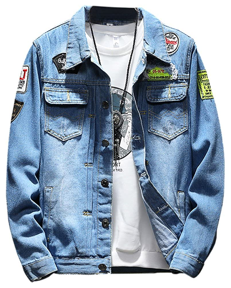 LifeHe Men Denim Jackets Ripped Patches