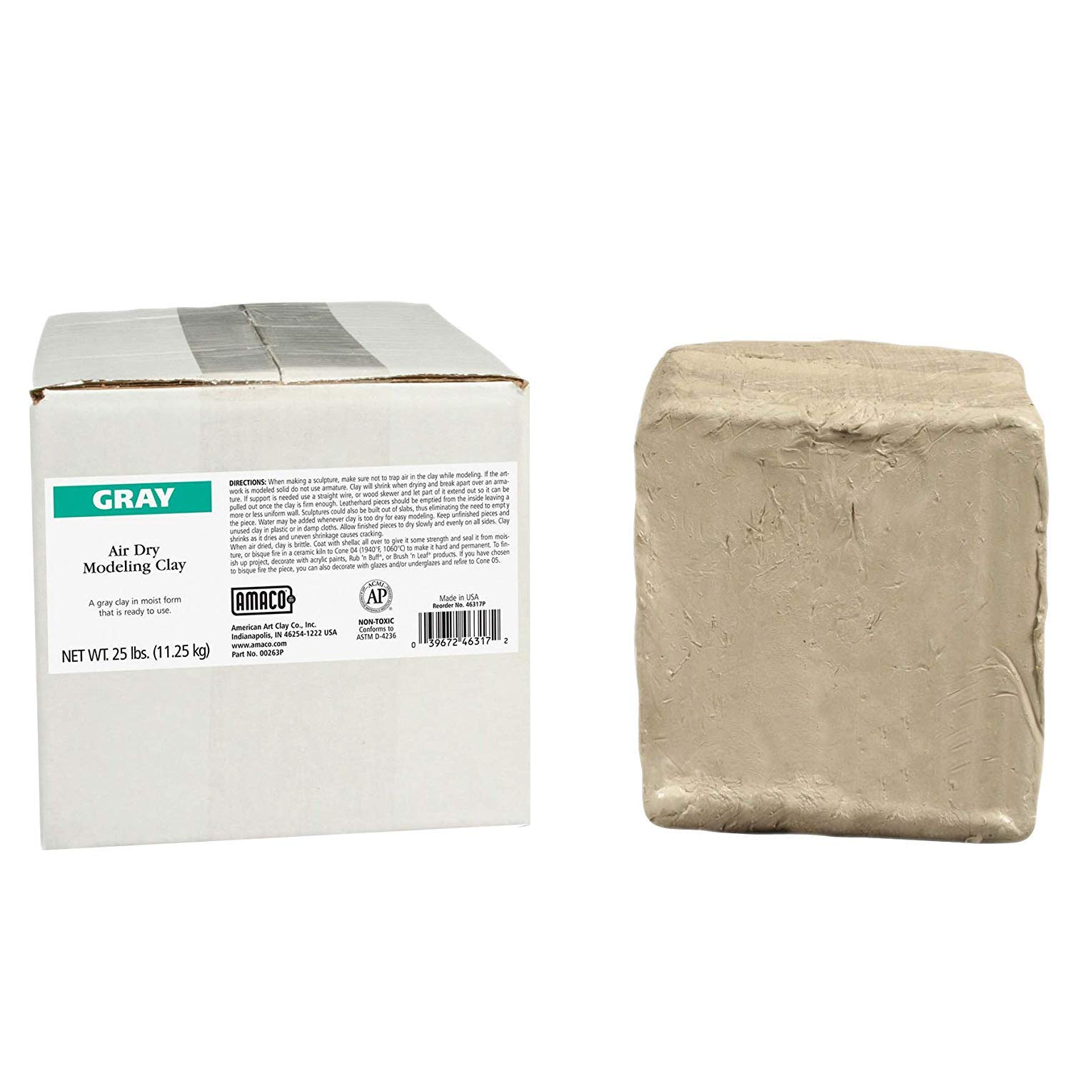 AMACO AMA46317P Air Dry Clay, Gray, 25 lbs. (Pack of 2) by AMACO (Image #2)